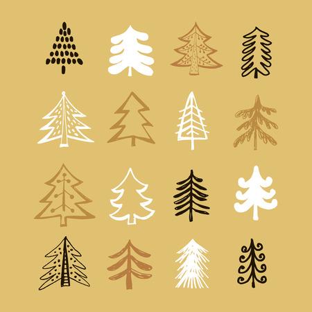 Vector set with hand drawn Christmas tree. Illusztráció