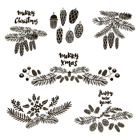 vector set avec des symboles de noël dessinés à la main . illustration