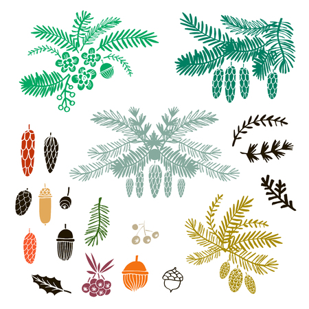 Vector sertie de branches de Noël dessinées à la main. pour joyeux noël et bonne année. sapin, mélèze, pin, épicéa. sketch.vector illustration.