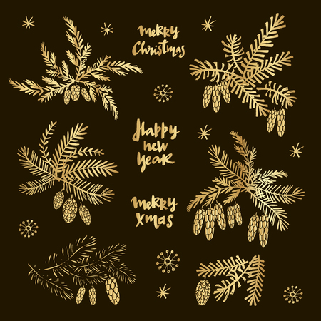 Vector set with hand drawn Christmas branches.