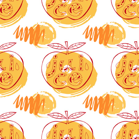 Funny seamless pattern with apples. Vector seamless ornament.Template for the fabric. Package design, product package,product label . Vectores