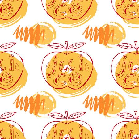 Modèle sans couture drôle avec des pommes. Ornement sans soudure de vecteur Modèle pour le tissu. Conception de l'emballage, emballage du produit, étiquette du produit. Banque d'images - 99276751