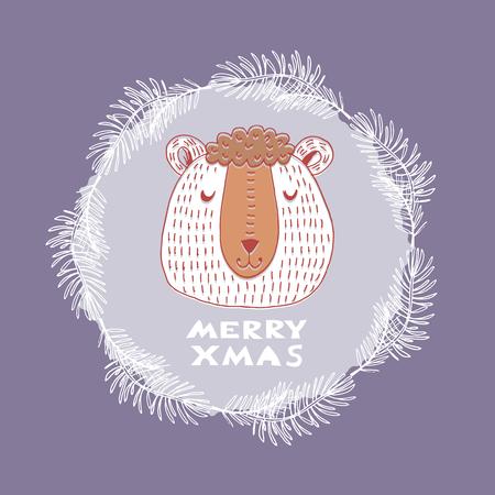 Cute  bear  in vector.Template christmas postcard.Text- Merry xmas.Vector illustration.