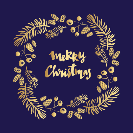 Hand drawn Christmas  card with cristmas wreath.  Text - Merry Christmas.Holiday background.Unique hand drawn design.Vector illustration.