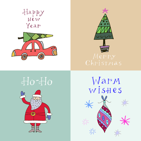 Set of 4 hand drawn Christmas card.Santa, Christmas tree ball. auto in vector. Holiday background.Unique hand drawn design.Vector illustration.
