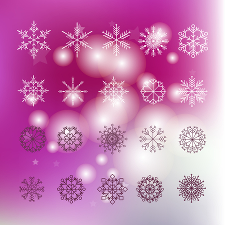 Set of snowflakes. Christmas  card with snowflakes and bokeh.Beautiful snowflakes set for christmas winter design.Template christmas card.
