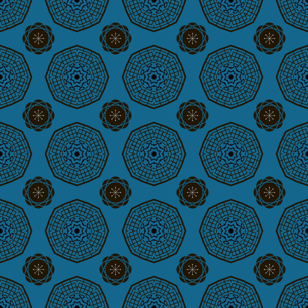 Decorative seamless pattern with chinese elements.Asian  geometric background.Chinese elements.Blue colors. Stylish trendy fabric.Vector Illustration. Иллюстрация