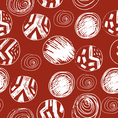 Abstract seamless pattern of lines and circles.Endless ethnic pattern, template for design and decoration.Vector. Illustration