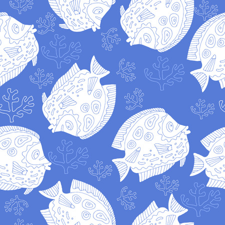 Funny seamless pattern with cute fishs.Print on  wallpaper, paper, packaging, textiles.Vector. Illustration