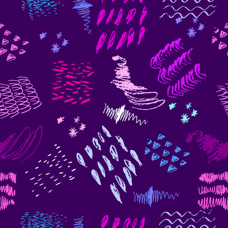Hand drawn pattern of spots, lines, dots and strokes on colored illustration.