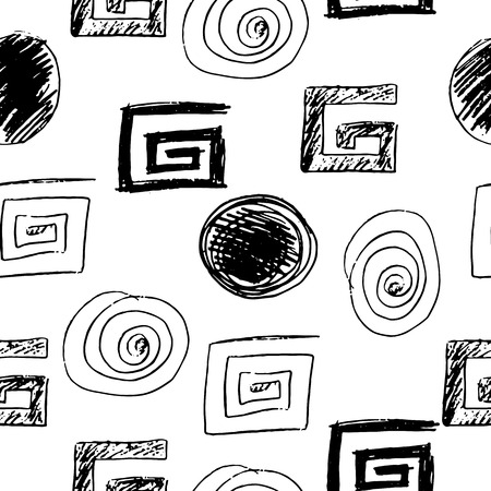 Decorative pattern with abstract details and circles on black and white pattern illustration.