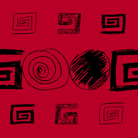 Seamless pattern with meanders and circular motifs in black and red colors.