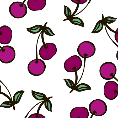 Seamless pattern with fruit painted rough brush.Vector seamless texture.For printing on packaging, textiles, paper and other materials. Illustration