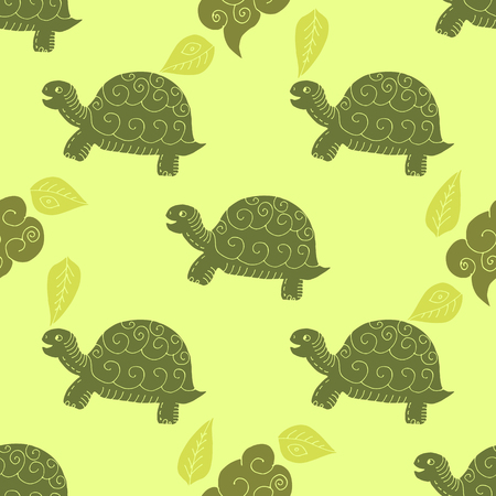 Funny  seamless pattern with turtles. Vector seamless ornament.Template for the fabric.  イラスト・ベクター素材