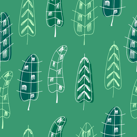 Funny  handdrawn pattern with feathers.Vector seamless texture.For printing on packaging, textiles, wallpaper,paper.