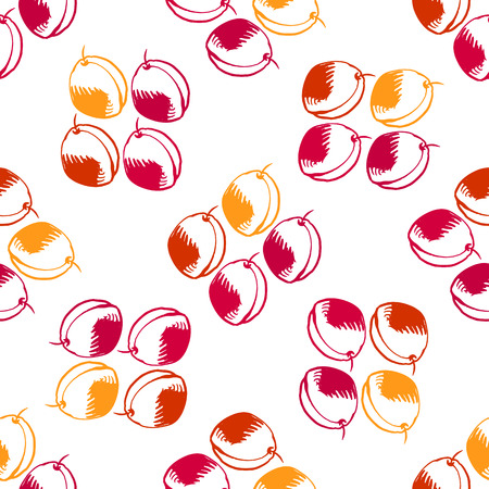 Funny seamless pattern with peaches. Vector seamless ornament.Template for the fabric. Illustration