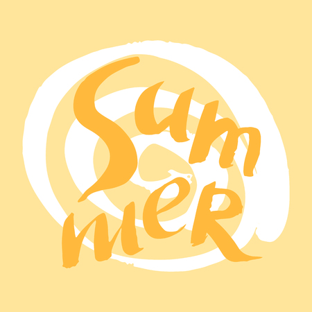 Summer- template card.Vector calligraphic illustration of hand drawn  inscriptions.Lettering design. Vector illustration.