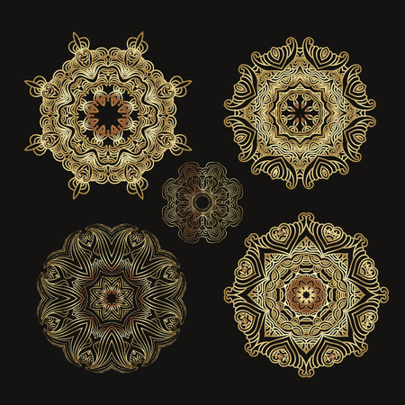 Mandala golden collection, outline mandalas inspired Arabian and Indian, Tibetan ornament. Adult coloring page decorative element for ethnic shop or as pattern for web design isolated vector illustration.