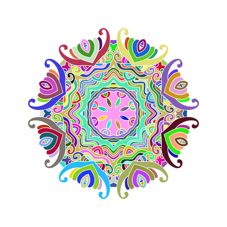 Mandala  coloful,outline mandalas inspired arabian and indian, tibetan  ornament. Adult coloring page.decorative element for ethnic shop or as pattern for web design. Isolated. Vector illustration.