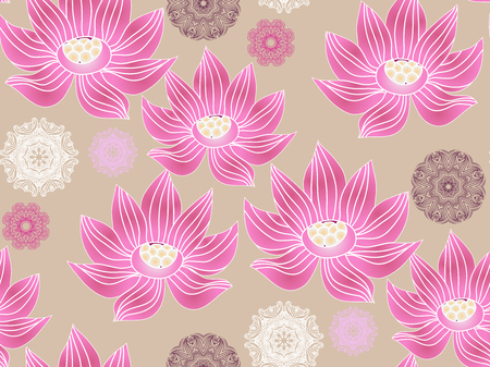 Beautiful seamless pattern  with flower lotus.  Japanese ? indian pattern. Perfect for site backgrounds, wrapping paper and fabric design. Vector illustration.