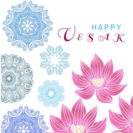 快乐的佛陀。模板创意设计的横幅,海报。卫塞节或佛节。花、莲花和曼荼罗元素。节日的背景。矢量插图。