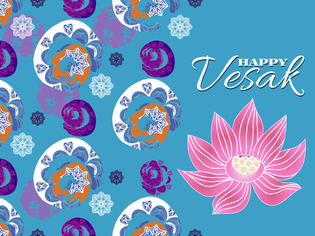 Happy Vesak.Template creative design for banner, poster.Vesak Day or Buddha Purnima.  Flower lotus and mandala elements.  Festive background.Vector illustration.