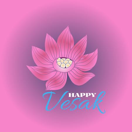 Happy Vesak.Template creative design for banner, poster.Vesak Day or Buddha Purnima.  Flower lotus and mandala elements.  Festive background.Vector illustration.