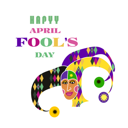 April Fools day hand lettering greeting card. Vector festive calligraphy background . Vector illustration.