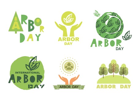 Arbor Day ecology concept design set.