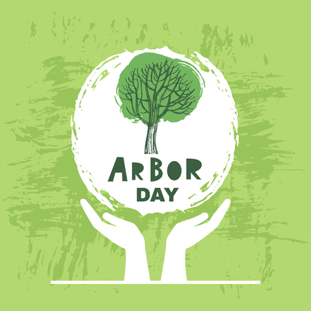 Arbor Day. Ecology concept design. Green Eco Earth. Vector illustration for greeting card, poster, banner, eco design.