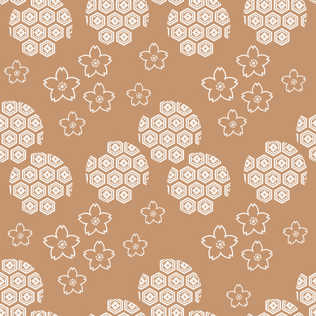 Beautiful  japanese seamless  pattern with japanese motifs. Vector unique seamless asian texture.For printing on packaging, textiles, paper, manufacturing, wallpapers,bags, scrapbooking.