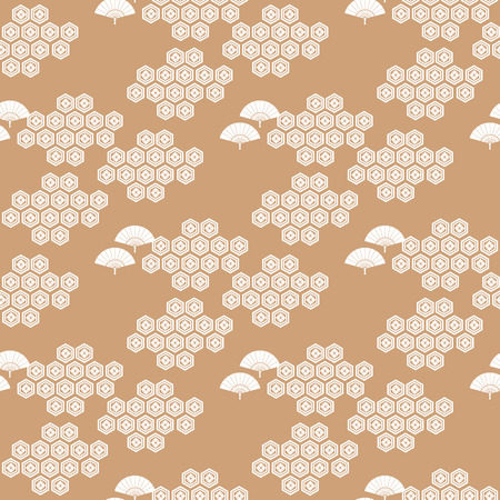 Beautiful japanese seamless  pattern with clouds, fans, waves and flowers. Vector unique seamless asian texture.For printing on packaging, textiles, paper,manufacturing, wallpapers,bags, scrapbooking.