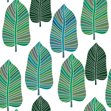 Decorative seamless pattern with leaves.  Beautiful floral background  for the design and decoration. Stylish trendy fabric. Modern  floral  wallpaper. Vintage. Vector illustration. Foto de archivo - 100322834
