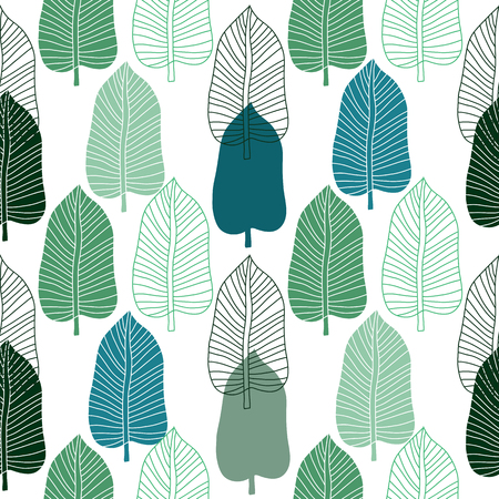 Decorative seamless pattern with leaves.  Beautiful floral background  for the design and decoration. Stylish trendy fabric. Modern  floral  wallpaper. Vintage. Vector illustration. Stock Illustratie