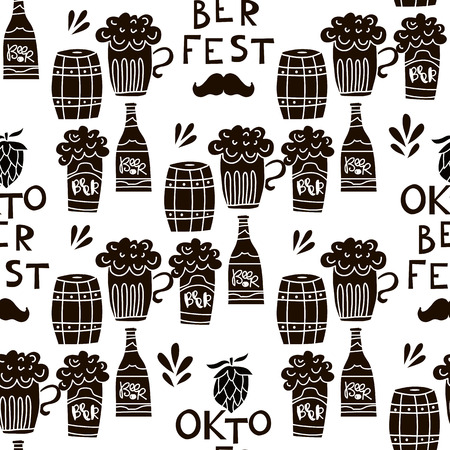 Funny seamless pattern .Oktoberfest beer festival. Template textile,paper,wallpaper,banner, poster.  Vector illustration. 일러스트