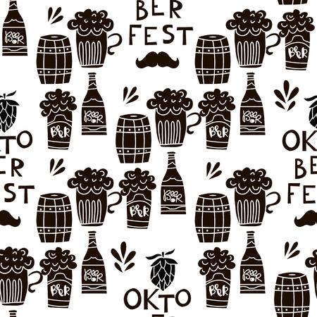Funny seamless pattern .Oktoberfest beer festival. Template textile,paper,wallpaper,banner, poster.  Vector illustration. Illusztráció