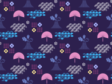 Beautiful japanese seamless  pattern with clouds,Fuji,fan, waves and flowers. Vector seamless asian texture.For printing on packaging, textiles, paper,book covers, manufacturing, wallpapers,  gift wrap and scrapbooking.  イラスト・ベクター素材
