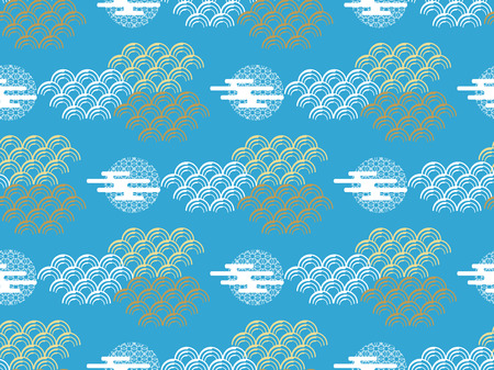 Beautiful japanese seamless  pattern with clouds and waves . Vector seamless asian texture.For printing on packaging, textiles, paper,book covers, manufacturing, wallpapers,  gift wrap and scrapbooking. Çizim