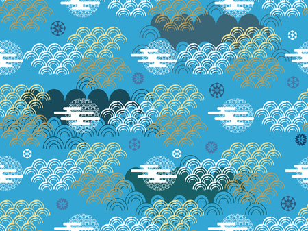Beautiful japanese seamless pattern with clouds and waves . Vector seamless asian texture.For printing on packaging, textiles, paper,book covers, manufacturing, wallpapers, gift wrap and scrapbooking.