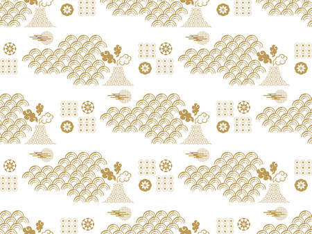 Beautiful japanese seamless  pattern with clouds,Fuji, waves and flowers. Vector unique seamless asian texture.For printing on packaging, textiles, paper,book covers, manufacturing, wallpapers,bags, scrapbooking. Иллюстрация