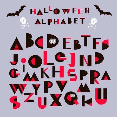 Vector funny alphabet for Halloween design.Geometrical  letters.   Vector  illustration. Illustration