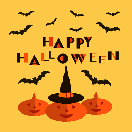 Happy Halloween. Background holiday design with cute  pumpkins  and  bats. Vector illustration.