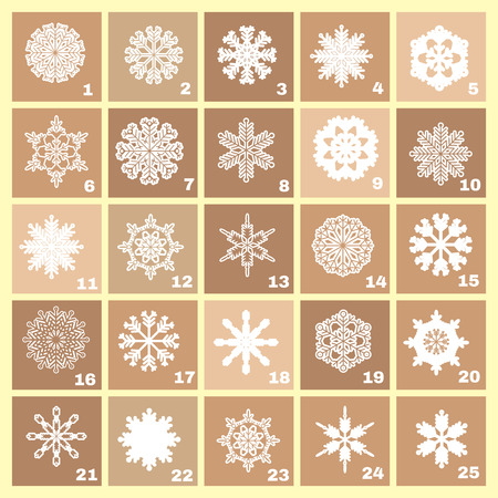 Christmas Advent Calendar with  snowflakes, stars  and gift. Template poster, banner. Vector  illustration.