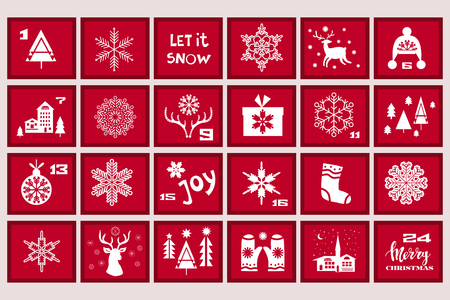Christmas Advent Calendar with Santa Claus, reindeer, mistletoe, tree,snowman and gift. Template poster? banner. Vector  illustration.