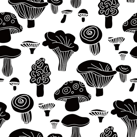 Decorative  seamless pattern  with   mushrooms. Cute  kids  pattern.  Autumn background.Unique hand drawn texture.Scondinavian design.Vector illustration.  イラスト・ベクター素材