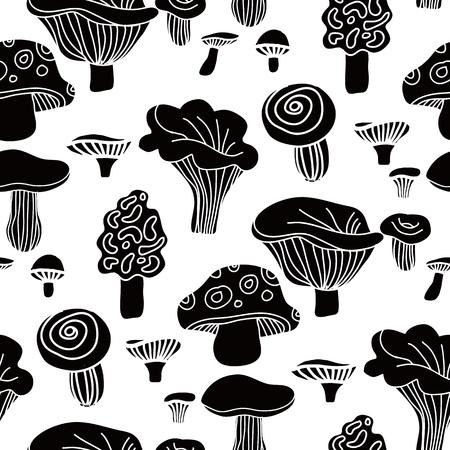 Decorative  seamless pattern  with   mushrooms. Cute  kids  pattern.  Autumn background.Unique hand drawn texture.Scondinavian design.Vector illustration. Illustration