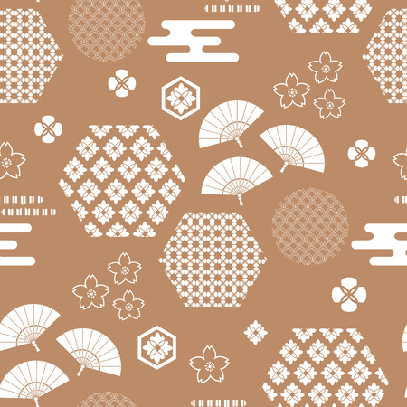 Beautiful japanese seamless  pattern with fans,asian elements and flowers. Vector unique seamless asian texture.For printing on packaging, textiles, paper,  manufacturing, wallpapers,bags, scrapbooking.