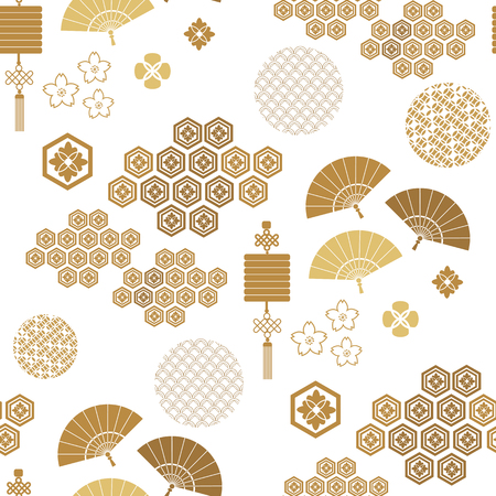Beautiful japanese seamless  pattern with asian elements and flowers. Vector unique seamless asian texture.For printing on packaging, textiles, paper,  manufacturing, wallpapers,bags, scrapbooking. Иллюстрация