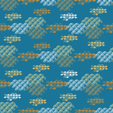 Beautiful japanese seamless  pattern with asian elements and golden waves. Vector unique seamless asian texture.For printing on packaging, textiles, paper,  manufacturing, wallpapers,bags, scrapbooking. Illustration
