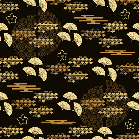 Beautiful japanese seamless pattern with fans, golden waves , asian elements and flowers. Vector unique seamless asian texture.For printing on packaging, textiles, paper, manufacturing, wallpapers,bags, scrapbooking.